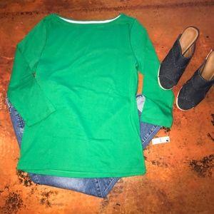 New W/Tag Talbots Green 3/4 Sleeve Bateau Neck Tee